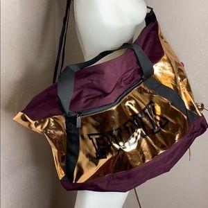 🆕 VS PINK Ruby Rose Gold Foil Gym Duffel Bag